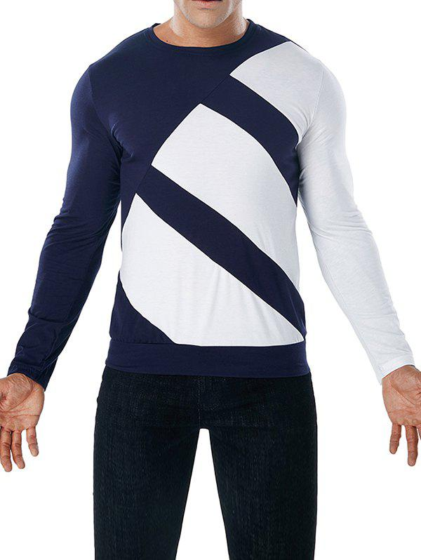 Chic Long Sleeve Color Block Tee