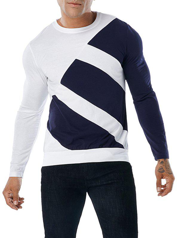 Fashion Long Sleeve Color Block Tee