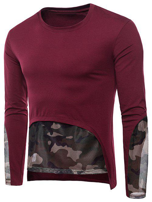 Store Camo Mesh Embellished Casual T-shirt