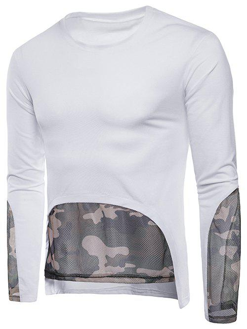 Buy Camo Mesh Embellished Casual T-shirt