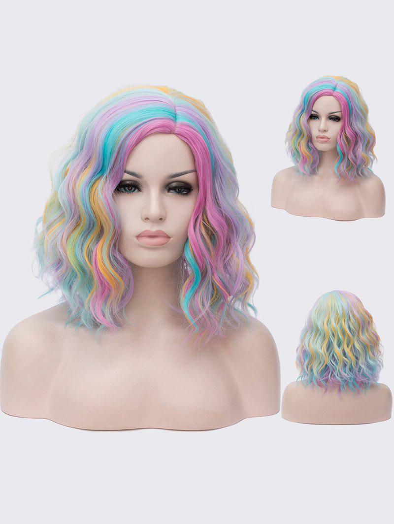 Fancy Medium Side Parting Colorful Rainbow Natural Wavy Synthetic Wig