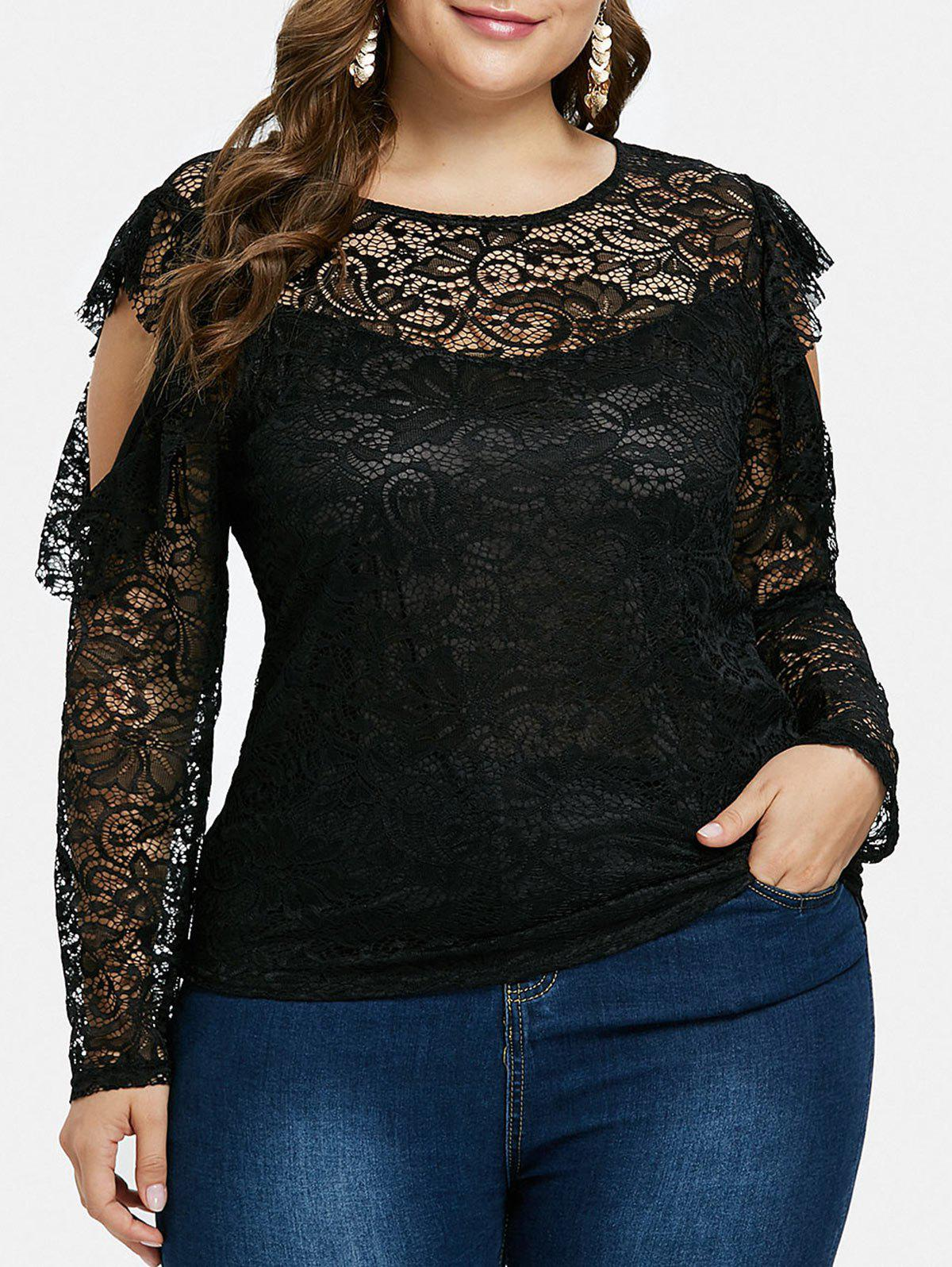 Trendy Ruffle Plus Size Lace Top