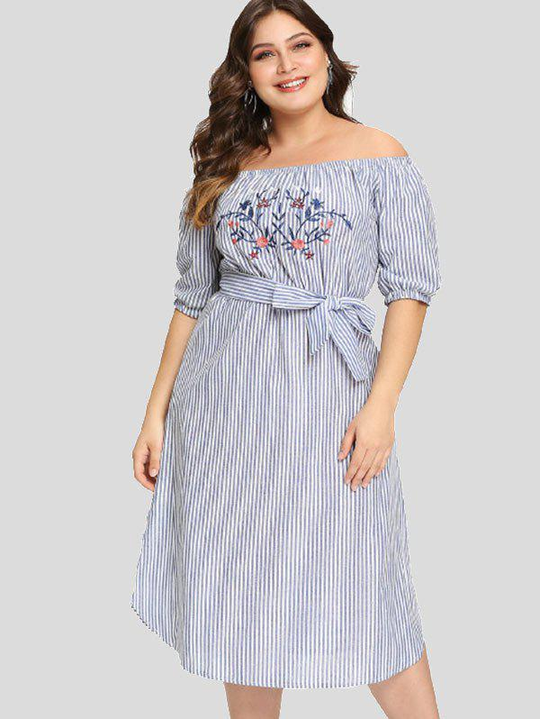 Fashion Off The Shoulder Plus Size Embroidery Striped Dress