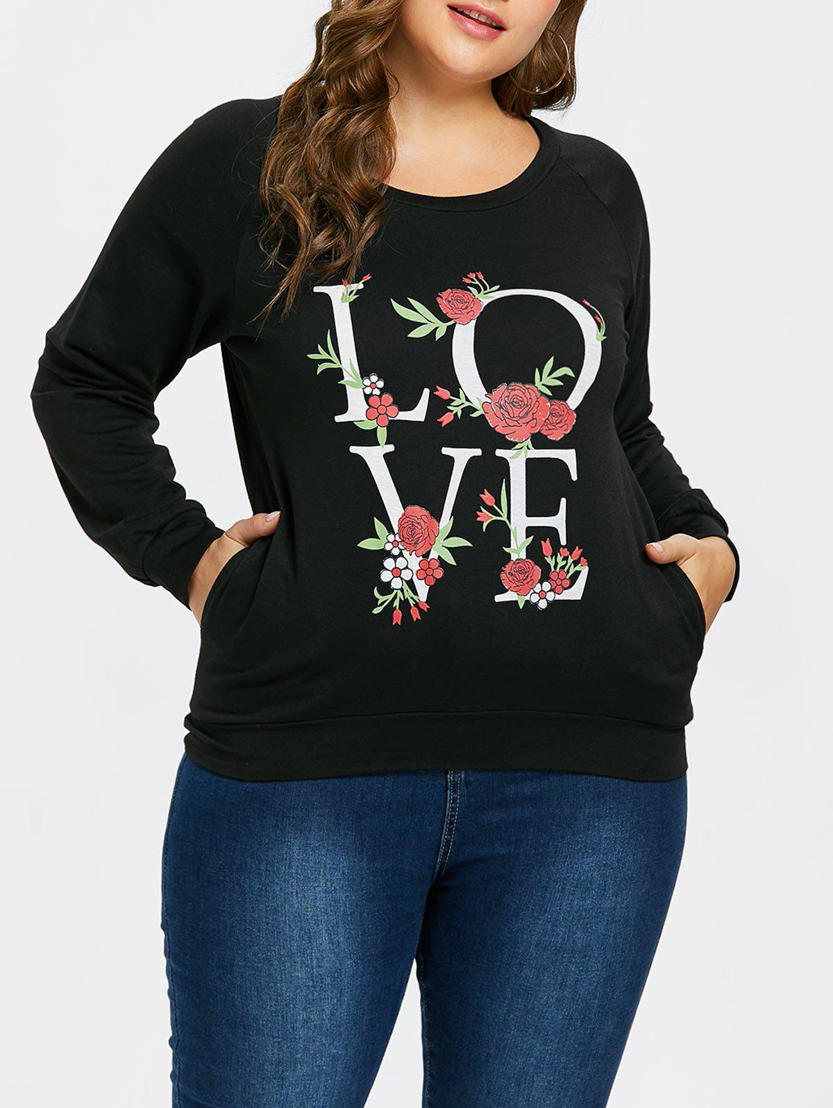 Fashion Plus Size Love Rose Print Sweatshirt