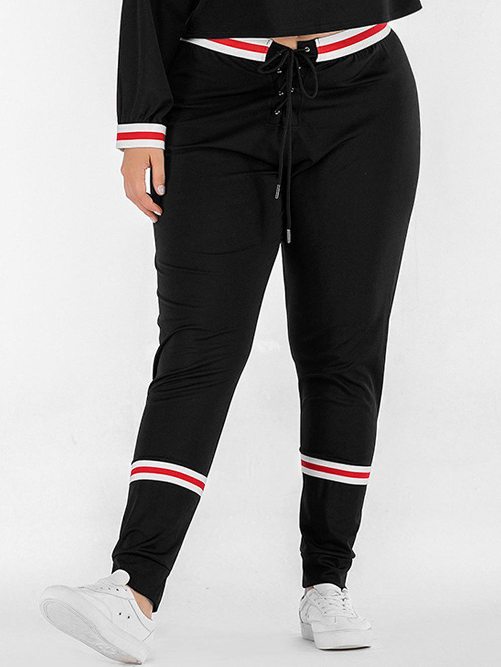 Affordable Lace Up Plus Size Striped Panel Pants