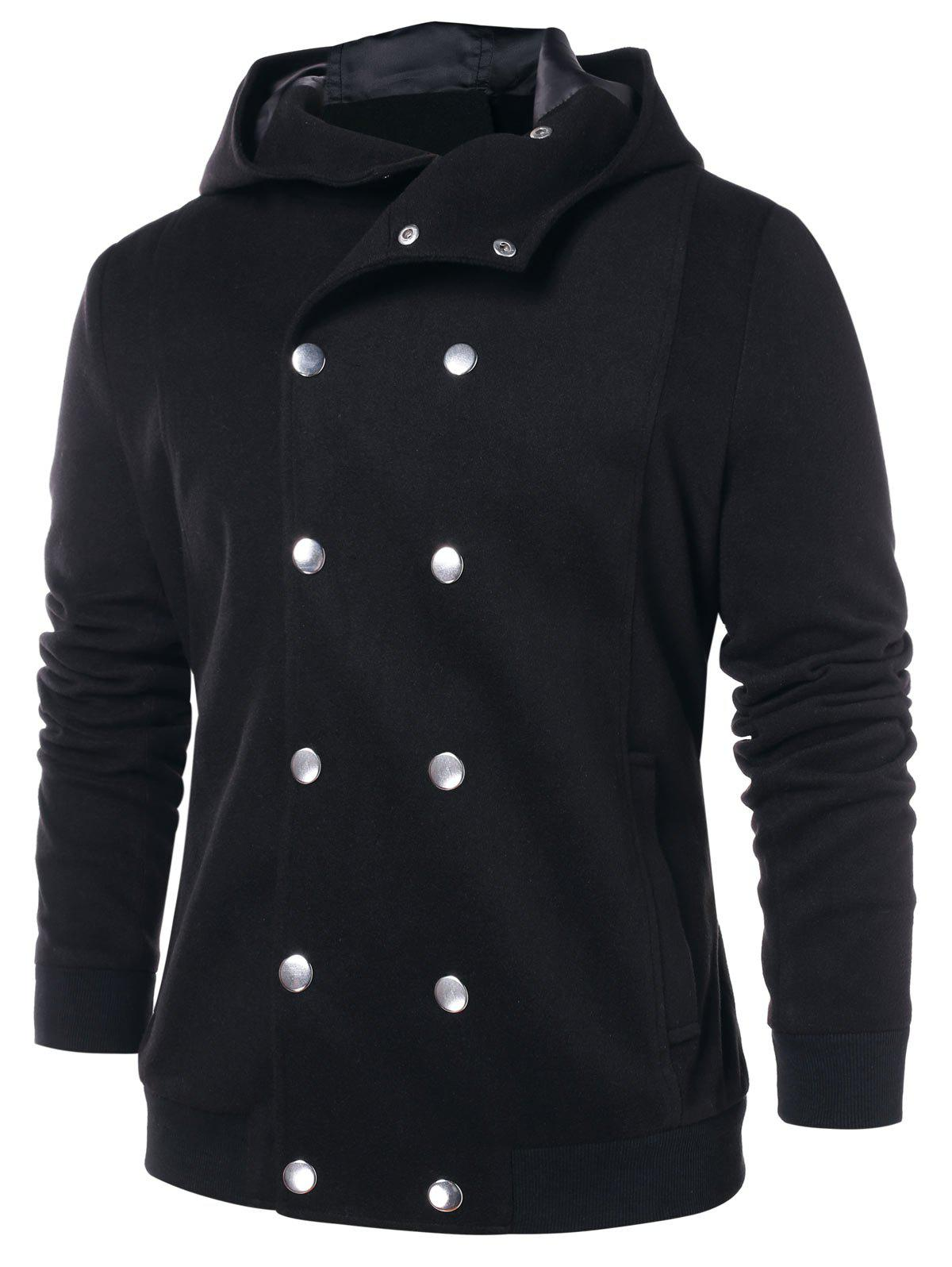 Fancy Double Breasted Solid Color Hooded Coat