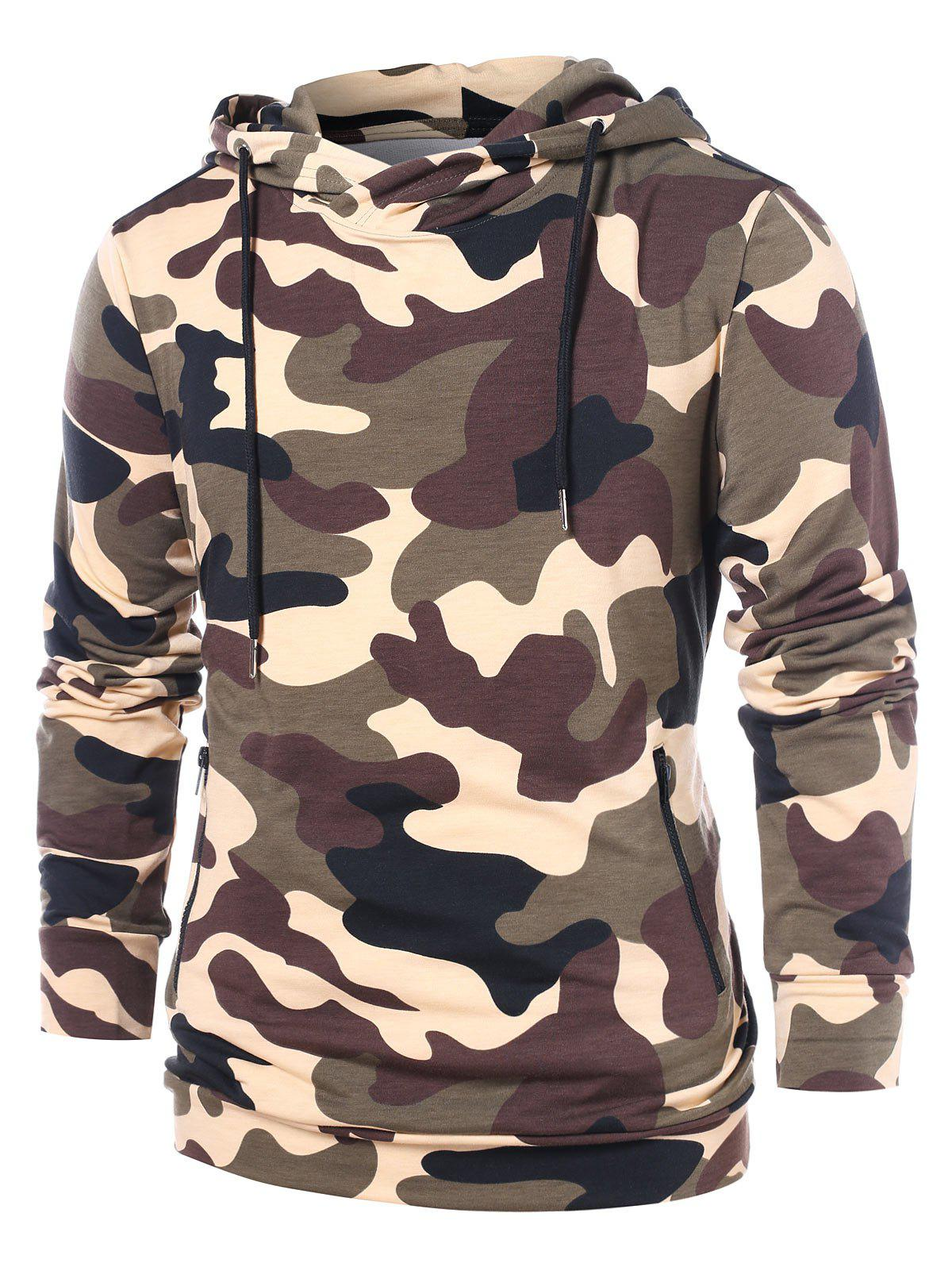 Buy Drawstring Zip Pockets Camo Hoodie
