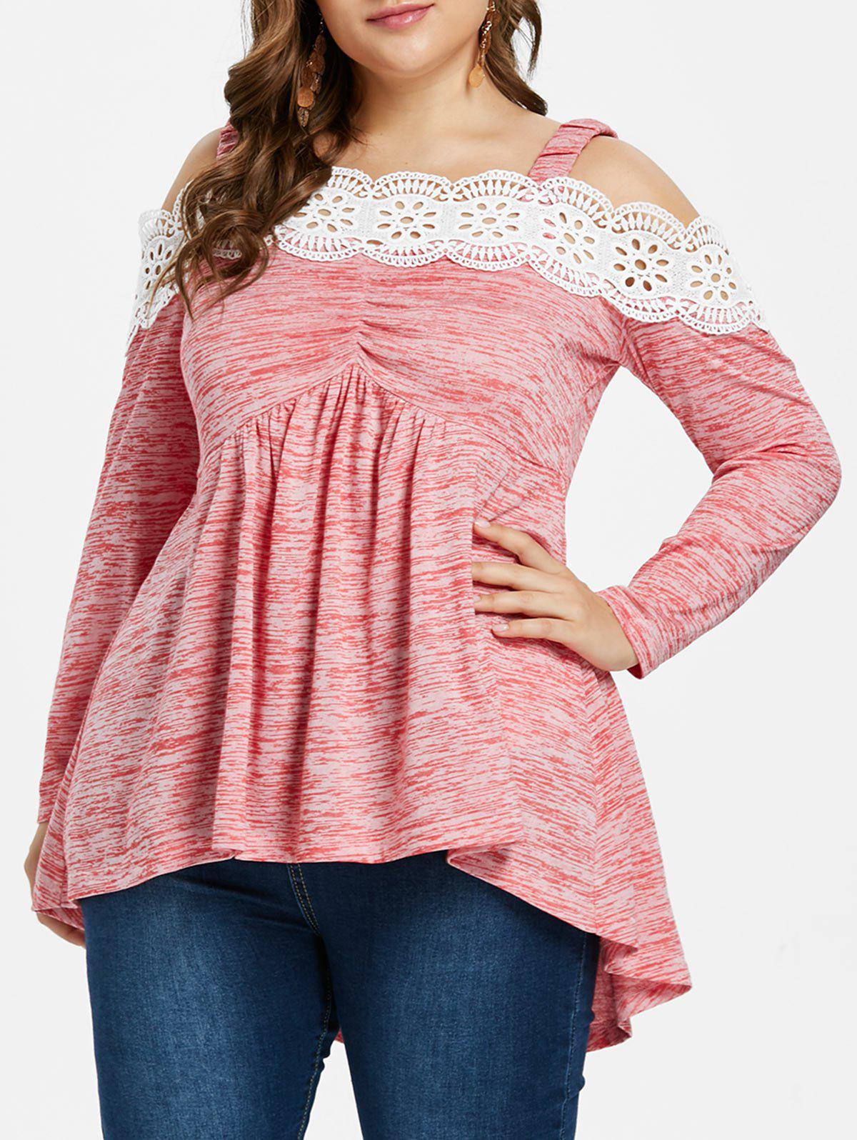 Shops Plus Size Scalloped Lace Trim Cold Shoulder T-shirt