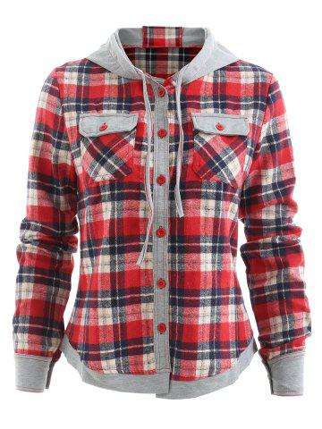 Stylish Hooded Long Sleeve Gingham Single-Breasted Women's Blouse - RED - M