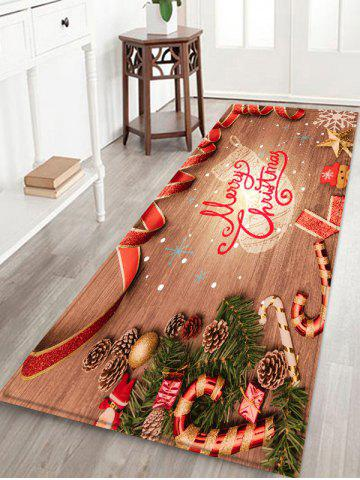 Christmas Wood Grain Pattern Water Absorption Area Rug