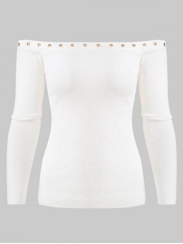 Grommet Off The Shoulder Sweater