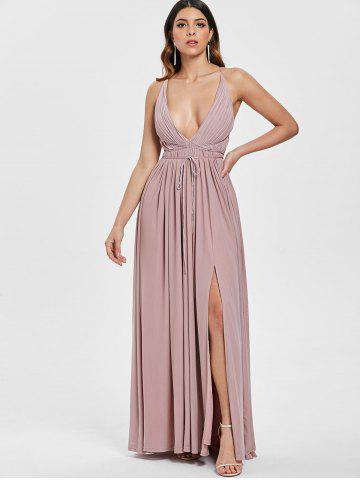 Plunging Neck Open Back Criss Cross Maxi Dress