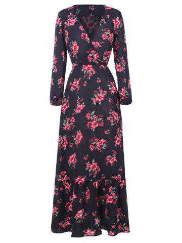 Floral Print Full Sleeve Maxi Surplice Dress