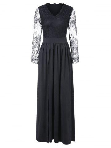 Lace Sleeve Maxi Cocktail Dress - BLACK - M
