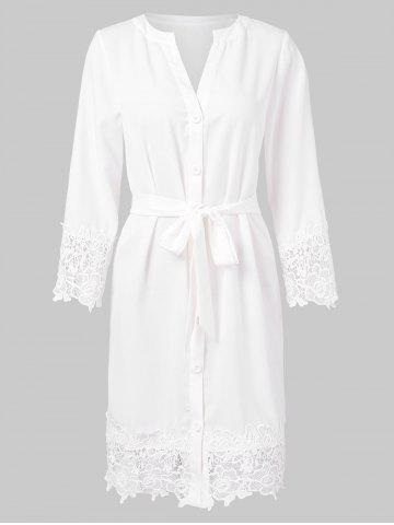 Lace Trim Full Sleeve Button Up Dress
