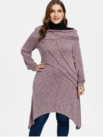 Plus Size Contrast Marled Tunic Knitwear