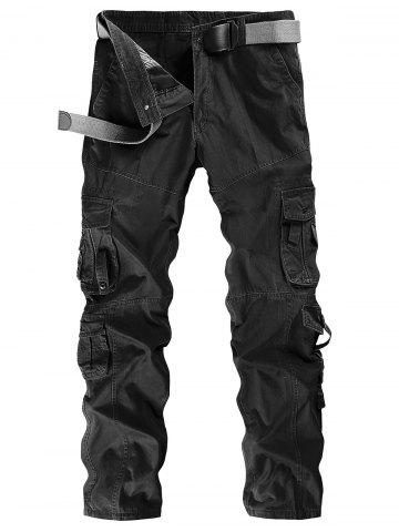 Solid Color Zip Fly Cargo Pants