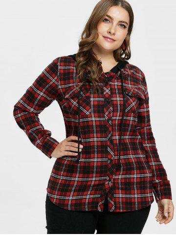 Plus Size Plaid Hooded Shirt Jacket