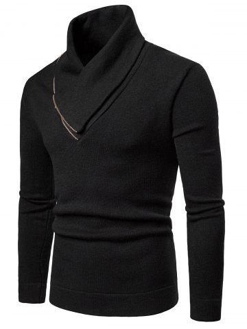 Shawl Collar Solid Color Pullover Sweater