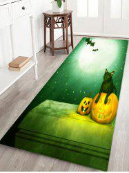 Halloween Moon Night Cat Pattern Water Absorption Area Rug -