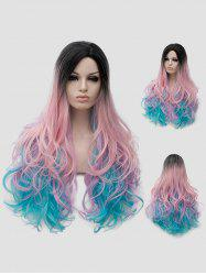 Long Side Parting Colorful Wavy Party Rainbow Synthetic Wig -