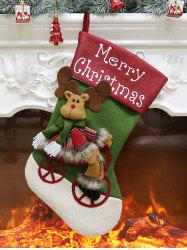 Merry Christmas Theme Elk Pattern Hanging Stocking Decoration -