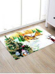 Christmas Tree House Pattern Water Absorption Area Rug -
