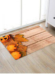 Halloween Pumpkin Wood Grain Pattern Water Absorption Area Rug -