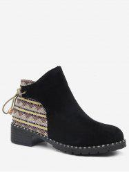 Tie Back Suede Patchwork Short Boots -