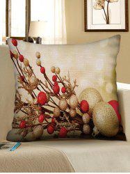 Christmas Ball Printed Decorated Linen Pillowcase -