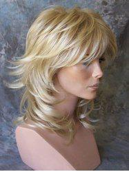 Medium Side Bang Layered Slightly Curly Synthetic Wig -