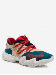 Lace Up Color Block Sewing Walking Sneakers -