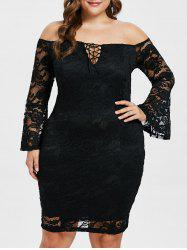 Lace Up Plus Size Lace Bodycon Dress -