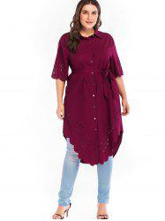Plus Size Cutwork Long Blouse -