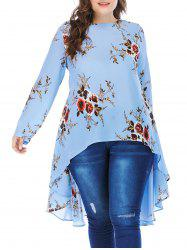 Plus Size Floral High Low Blouse -