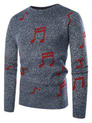 Musical Notation Pattern Knitted Sweater -