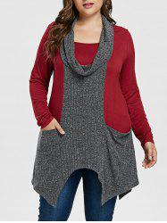 Plus Size Cowl Neck Handkerchief T-shirt -