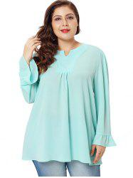 Plus Size Flare Sleeve V Neck Blouse -