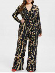 Plus Size Chain Graphic Jumpsuit -