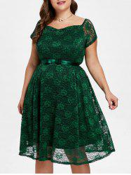 Sweetheart Neck Plus Size Lace A Line Dress -