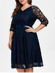 Plus Size Knee Length Lace Dress with Belt -