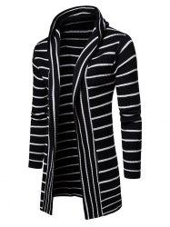 Collarless Hooded Longline Striped Cardigan -