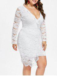 Plus Size Plunging Neck Lace Dress -