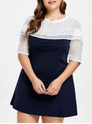 Layered Detail Plus Size Lace Panel Mini Dress -