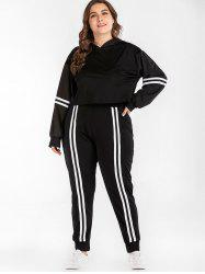 Long Sleeve Hoodie and Striped Plus Size Pants -