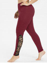 Plus Size Bottom Lace Detail Leggings -