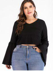 Back Zip Plus Size Flare Sleeve Blouse -