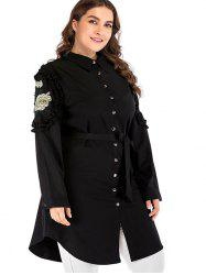 Plus Size Embroidered Blouse with Belt -