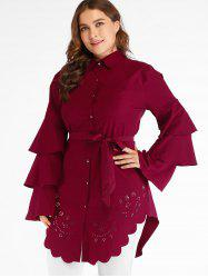 Plus Size Cutwork Tunic Blouse -