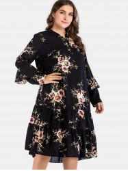 Flare Sleeve Plus Size Floral Ruffle Dress -
